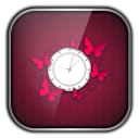 Pink Butterfly Clock 1.1 for Android